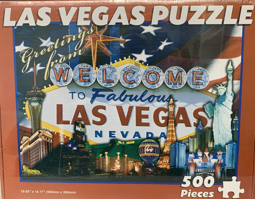 puzzle souvenir of Las Vegas with USA flag background and Casinos that are popular