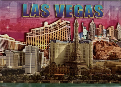 Pink Skyline Background Las Vegas Major Casinos Pictured Magnet
