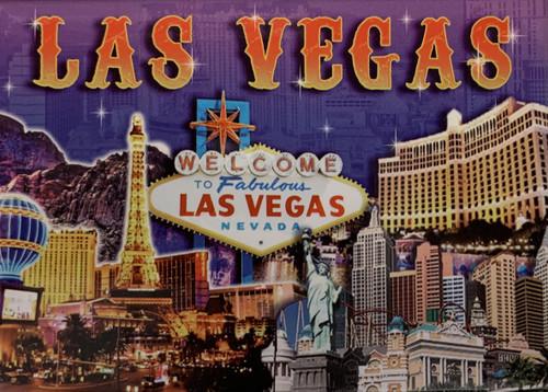 Souvenir Las Vegas Magnet with Vibrant Purple Colors and Major Casinos for fun
