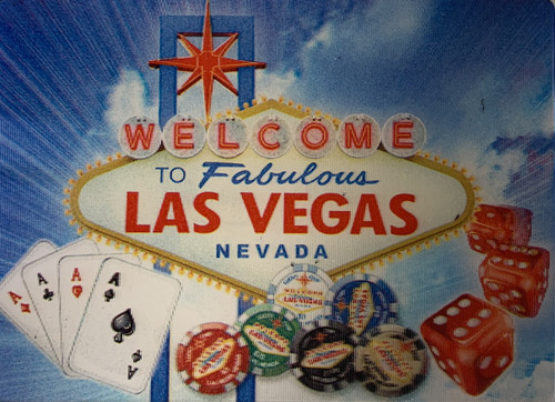 Hologram Las Vegas magnet with Sign, Cards, Dice, and Poker Chips.