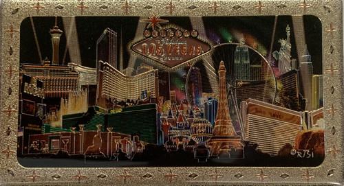Metallic Magnet from Vegas With Black Spotlights Design on it.