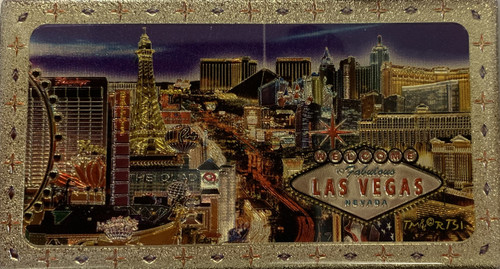 Metallic Magnet from Vegas With Infamous Strip Design on it.