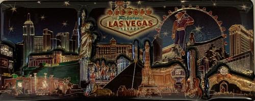 3D Magnet of Las Vegas Blue Skyline Design Souvenir