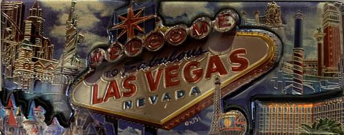3D Magnet of Las Vegas Blue Cloud  Design Souvenir rectangle.