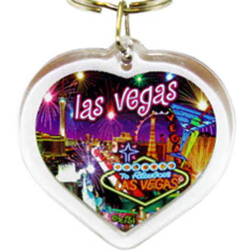 Heart Shape Acrylic Key Ring with a vibrant colored Neon Fireworks Las Vegas Design