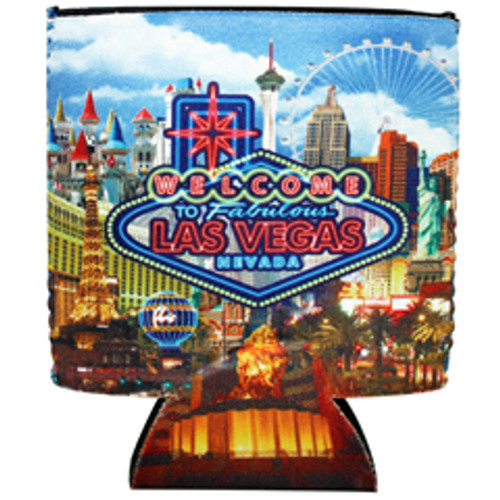 Las Vegas Neon design can coozie, drink cooler.