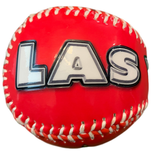 Bright Red Baseball with a white Las Vegas Lettering, the Las is shown here.
