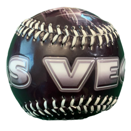 Black Baseball with a Ombre Gray Las Vegas lettering on it.