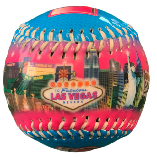 Blue Baseball with a colorful Las Vegas Pink Skyline scene on it.