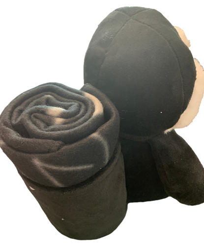 Back View of Black Plush Las Vegas Penguin with Child Blanket in Pouch.