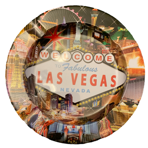 Round Tin ashtray with a colorful Hotel Collage design on it showing iconic casinos and landmarks.