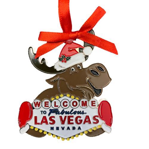 Metal Las Vegas Moose Shape ornament that also has the Las Vegas Welcome Sign; with a Red Ribbon.