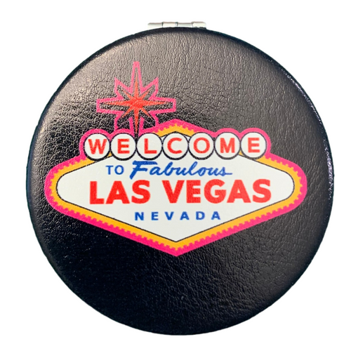 Bright Colorful Las Vegas Welcome Sign on a Black Background Round Las Vegas Compact Mirror.