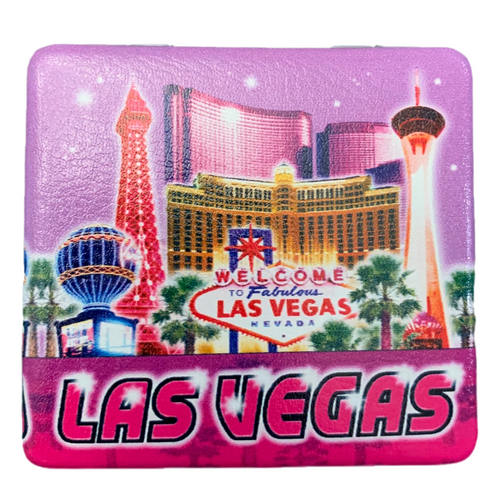 Bright Colorful Las Vegas Welcome city scene with a blue and purple hue background.
