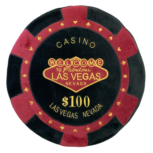 Round Poker Chip Shape Decorative Pillow in Rich Burgundy and Black, designed to replicate a $100 poker chip.