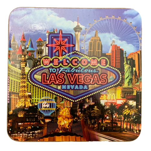 Set of 4 square Cork Coasters featuring our Popular NEON Las Vegas design in the background.