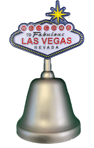 Metal Silver Las Vegas Bell with a colorful Las Vegas Sign on the top portion of the handle.