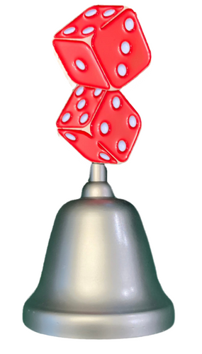 Metal Silver Bell with a pair of Red Dice Design on the top portion of the handle.