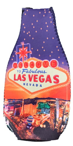 Bottle Shape Coozie Cooler with Las Vegas Glittery Stars Design