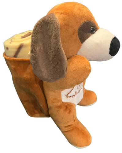 Side View of brown plush Las Vegas Doggie with Tan Child Blanket in Pouch.