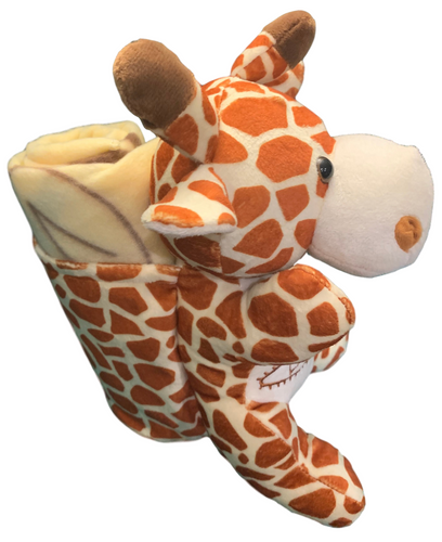 Side View of plush Las Vegas Giraffe with Tan  Child Blanket in Pouch.