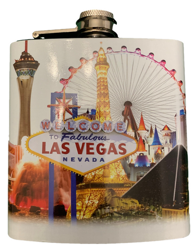 Metal Flask with White Las Vegas Skyline Design and has a colorful Vegas Icon Casinos and Welcome Sign on it.