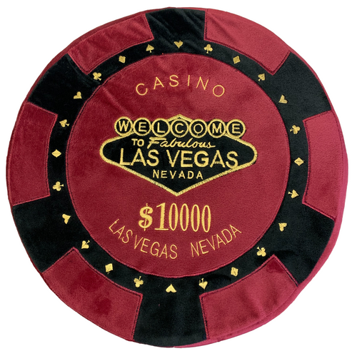 Round Poker Chip Shape Decorative Pillow in Rich Burgundy and Black, designed to replicate a $10,000 poker chip.