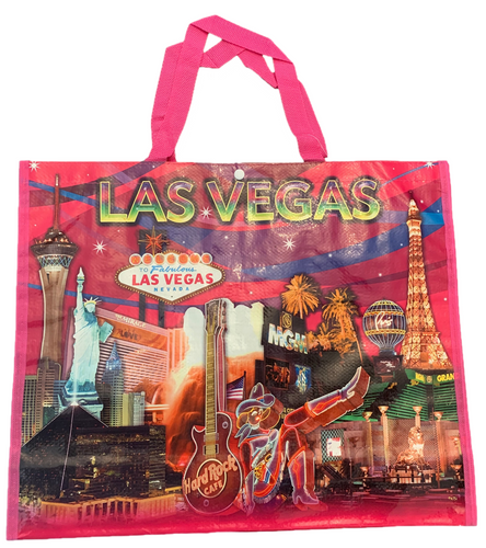 All Pink  tote bag shows a Las Vegas at the top over the Las Vegas Casinos in bright colors, great details.