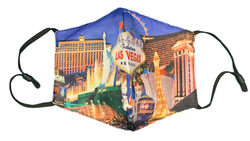 Facial Covering Mask with Blue Background and our Las Vegas Strip design.