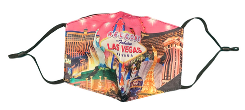 Facial Covering Mask with Pink  Background and our Pink Las Vegas Skyline Strip design.