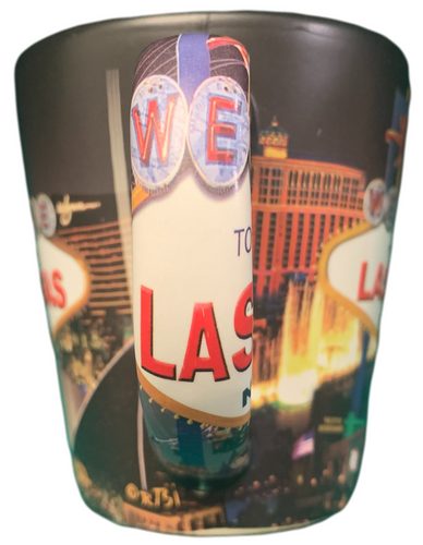 Black Background Las Vegas Scene Mug Handle View.