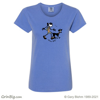 Hiking with Dogs Women's 100% Ring Spun Cotton T-Shirt from Grin Big! Outdoors