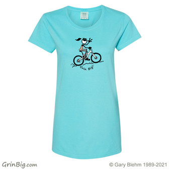Girl on Mountain Bike from Grin Big! Apparel 100% Cotton, Designed and Printed in Colorado