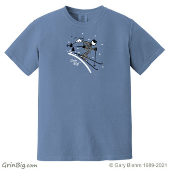 Ski T-Shirt, 100% Preshrunk Ring Spun Cotton from Grin Big! Outdoors