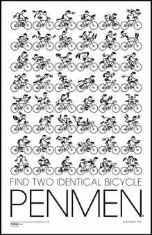 Find Two Identical BICYCLE PENMEN 11 x 17 PENMEN® Poster printed on high quality 80 lb. gloss cover shipped in a 12 x 2.5 inch packaging tube. All posters are signed by the artist, Gary Blehm.