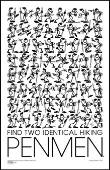 FIND TWO IDENTICAL HIKING PENMEN® 11 x 17 PENMEN Poster printed on high quality 80 lb. gloss cover shipped in a 12 x 2.5 inch packaging tube.   All posters are signed by the artist, Gary Blehm.