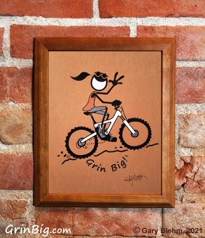 Mountain Bike Girl Screen Print by Grin Big!™ Outdoors Signed by the Artist, Gary Blehm