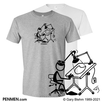 T-Shirt, Cartoonist Drawing Table, PENMEN
