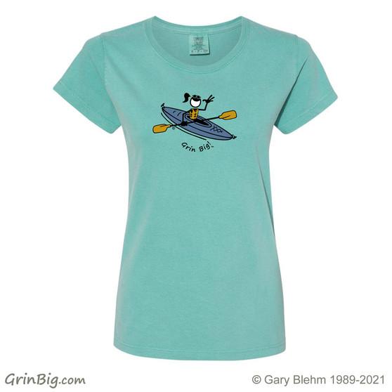 Women's Kayak T-Shirt, 100% ring spun cotton from Grin Big! Outdoors