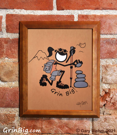 Hiking Screen Print by Grin Big!™ Outdoors Signed by the Artist, Gary Blehm