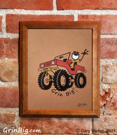 Jeep Screen Print by Grin Big!™ Outdoors Signed by the Artist, Gary Blehm