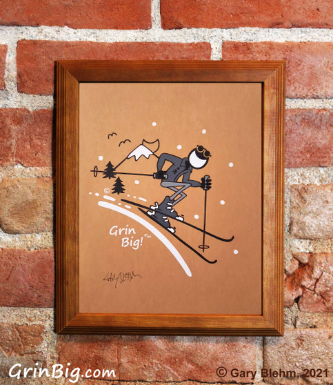 Skiing Screen Print by Grin Big!™ Outdoors Signed by the Artist, Gary Blehm
