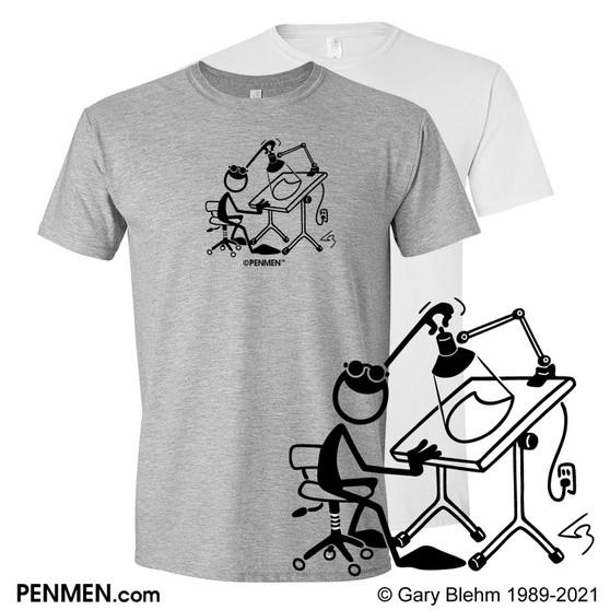 T-Shirt, Cartoonist Drawing Table, PENMEN