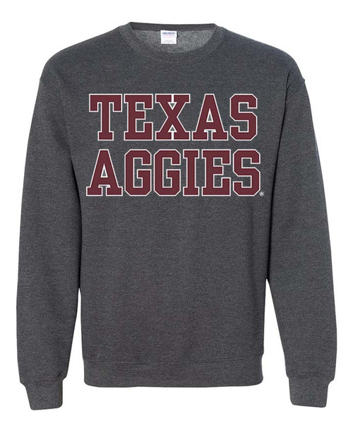Texas Aggies Stack Dark Heather Grey Crewneck