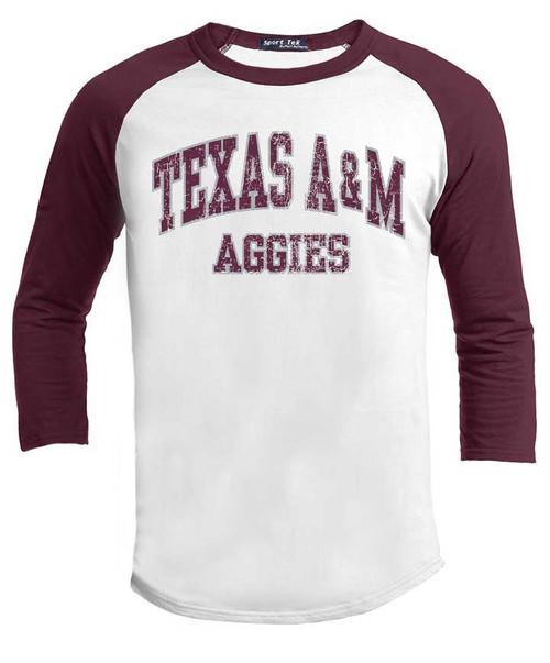 Texas A&M Aggies Maroon and White 3/4 Sleeve T-Shirt