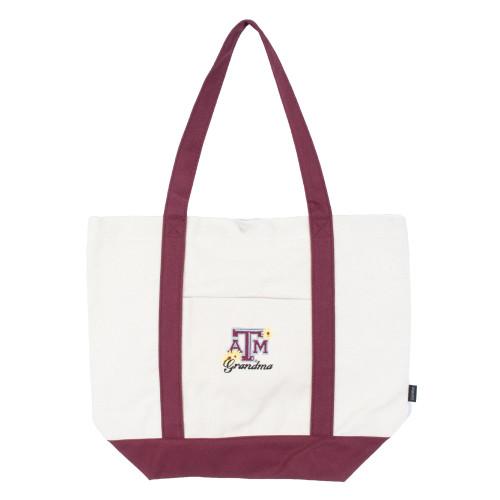 Texas A&M Aggies Embroided Flowers Grandma Tote Bag