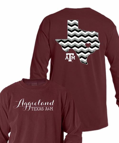 Texas A&M Aggies Chevron Aggieland Long Sleeve T-Shirt