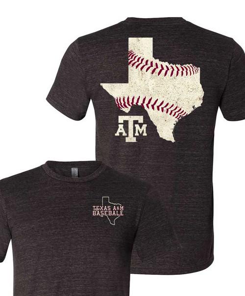 Texas A&M Baseball State Stitches Grey T-Shirt