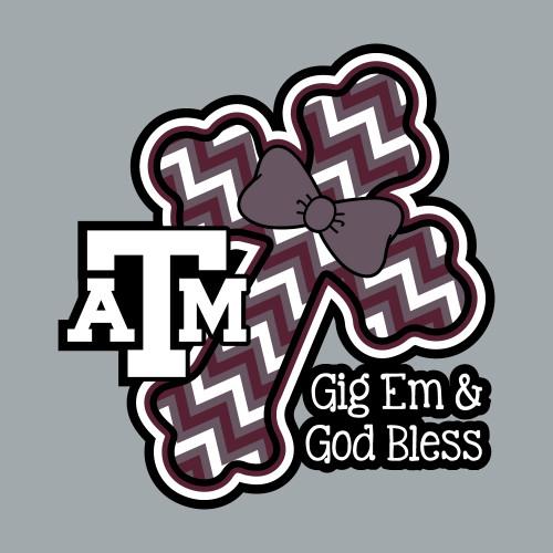 Texas A&M Aggies 5 x 5 Gig 'Em & God Bless Cross Decal   Maroon, Black & White