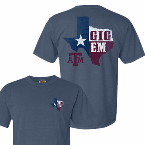Texas A&M Aggies Lonestar Gig Em Blue Jean Comfort Colors Short Sleeve T-Shirt